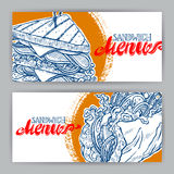 Two banners with sketch sandwiches Stock Photo