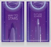 Two banners for space travels with space shuttle and falcon heavy. Can be used for space exploratioin program, vector illustration Royalty Free Stock Image