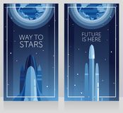 Two banners for space travels with space shuttle and falcon heavy. Can be used for space exploratioin program, vector illustration Stock Photo