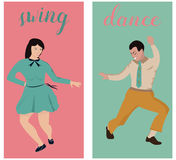 Two banners of the swing dancing couple. Stock Photography