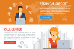 Two banners technical support flat style. Vector concept of technical support and call center. Male and female operator and customer service, symbols. Flat style royalty free illustration