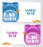 Two banners Template with backpacks and Hand drawn lettering Back to School. Vector illustration: Two banners Template with backpacks and Hand drawn lettering Stock Photo