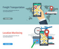 Two banners transportation and monitoring Royalty Free Stock Images