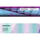Two banners with web of thin lines. Some waves of thin lines on banners for your design Stock Photography