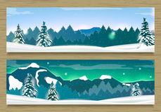 Two Banners with Winter Landscape and Snow Mountains. Royalty Free Stock Photography