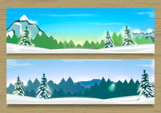 Two Banners with Winter Landscape and Snow Mountains. Stock Photo