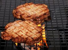 Two barbecue hamburgers with flames Royalty Free Stock Images