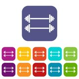 Two barbells icons set Stock Photos