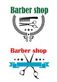 Two barber shop emblems or signs Royalty Free Stock Photography
