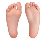 Two bare human feet. On a white background Stock Photos