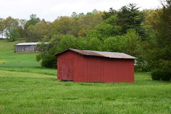 Two Barns in two fields. With green grass. One is red and one is natural wood unfinished stock photos