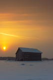 Two Barns In The Winter Sunrise Stock Image