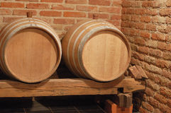 Two barrels. Two wine barrels in cellar Stock Images