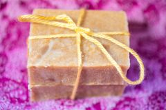 Two bars of hand crafted soap royalty free stock image