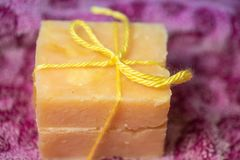 Two bars of hand crafted soap royalty free stock images