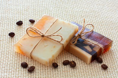 Two bars of handmade soap Royalty Free Stock Photo