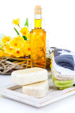 soap and toiletries for relaxation Stock Photos