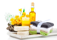 Two bars of soap and toiletries for relaxation Royalty Free Stock Image