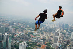 Two BASE Jumpers in action stock images