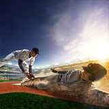 Two baseball player in action Royalty Free Stock Image