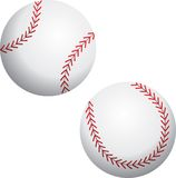 Two baseballs. Illustration of two baseballs isolated over white background. Additional format available Stock Photo