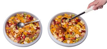 Two basins of healthy fruit salad stock photo