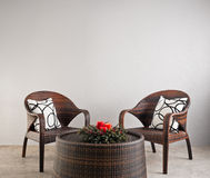 Two basket weaved seater Royalty Free Stock Photography