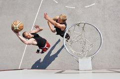 Two basketball players royalty free stock photo