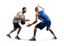 Two basketball players in action. Isolated on white  two basketball players in action Stock Photos