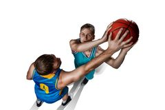 Two basketball players gameplay isolated on white. Background Royalty Free Stock Photography