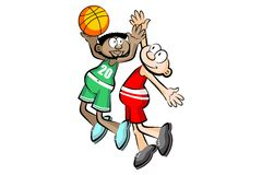 Two Basketball players isolated over white Stock Photos