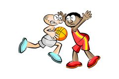 Two Basketball players isolated over white Royalty Free Stock Photo