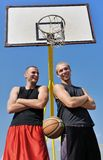 Two basketball players smiling Stock Photo