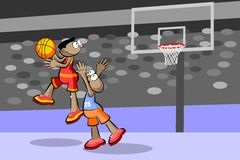 Two basketball players at the stadium Stock Image