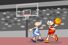 Two basketball players at the stadium Stock Photos