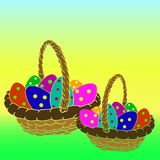 Two baskets with Easter colored eggs in peas, on a green yellow. Background, vector Stock Images