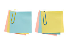 Two batch notes. With paper-clip isolated on white background stock images