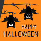 Two bats hanging on the tree. Happy Halloween card. Flat design Stock Photo