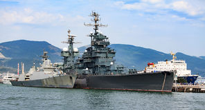 Two battbleships in a port Royalty Free Stock Image