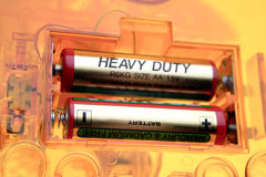 Two batteries. Two AA batteries in compartment Stock Photography