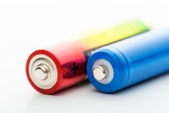 Two batteries on a white background Stock Image