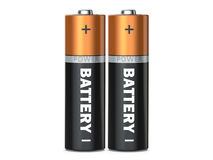 Two batteries on a white background  on white, 3D rende. R Royalty Free Stock Photo
