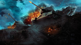 Two battle tanks in a hot flame Royalty Free Stock Images