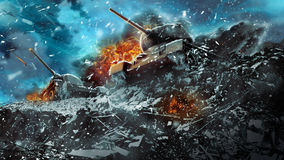 Two battle tanks moving in a snow storm Royalty Free Stock Images