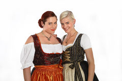 Two bavarian girls in traditional costumes Royalty Free Stock Photo