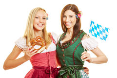 Two bavarian women in dirndl dress Stock Photo