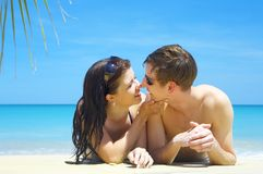 Two on beach Royalty Free Stock Image