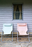 Two beach bench in front of the house. Beach bench in front of the house Royalty Free Stock Photos