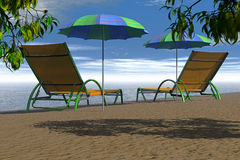 Two beach chair Stock Image