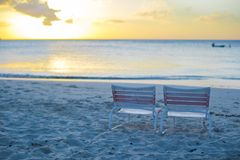 Two beach chair at caribbean resort Royalty Free Stock Photo